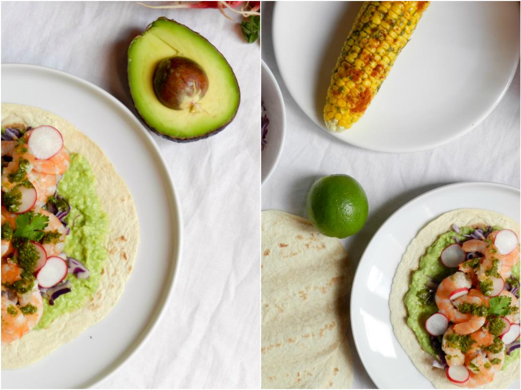 Tacos de crevettes, crème d'avocat, sauce citron vert-coriandre